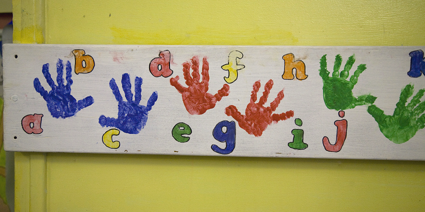Alphabet and hand prints