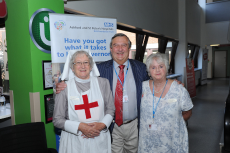 At the Community Day - volunteer in archive nurse uniform and governors